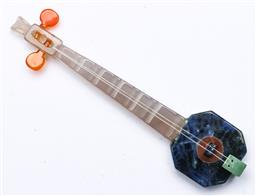 Sale 9164 - Lot 105 - A Chinese agate and mixed stone musical instrument L11cm