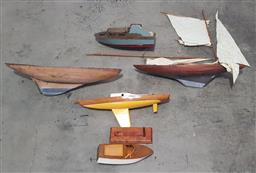 Sale 9171 - Lot 1079A - Collection of vintage timber pond yachts and hulls
