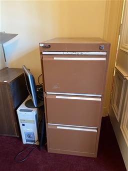 Sale 9190H - Lot 295 - A three drawer filing cabinet together with untested electronics