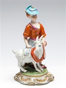 Sale 9255S - Lot 82 - A porcelain figure of A lady and goat Height 23cm