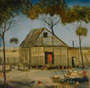 Sale 8000 - Lot 198 - Kevin Charles (Pro) Hart (1928 - 2006) - Untitled (Shearers Shed) oil on board