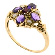 Sale 7995 - Lot 302 - A 9CT GOLD GEM SET RING; set with square cut ruby and 4 oval cut amethysts and seed pearls. Size O