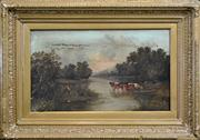 Sale 8259 - Lot 600 - Artist Unknown (19Cth European School) - Untitled, 1889 (Cattle by the River) 38 x 63.5cm