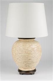 Sale 8350L - Lot 19 - A pair of Italian hand painted urn lamps with cream shades, total H 66cm, RRP $ 840