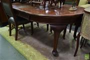 Sale 8542 - Lot 1006 - Round Timber Extension Supper Table with Two Leaves on Castors