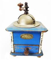 Sale 8828B - Lot 34 - An early C20th French painted blue coffee grinder marked Mouvement acier Forge. Height 24cm