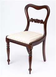 Sale 9044J - Lot 71 - A set of 6 Australian cedar chairs C: 1925. The kidney shaped waisted backs joined by a carved stretcher above tapering drop in remo...