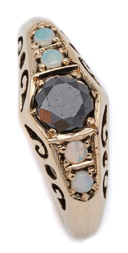 Sale 9083 - Lot 412 - A BLACK DIAMOND AND OPAL RING; centring a round brilliant cut black diamond of approx. 0.90ct between shoulders set with 4 small cry...