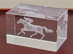 Sale 9098H - Lot 35 - A novelty glass paperweight with three dimensional engraved horse design, 8cm x 5cm x 5cm