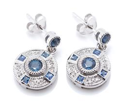 Sale 9221 - Lot 385 - A PAIR OF 9CT WHITE GOLD DECO STYLE SAPPHIRE AND DIAMOND EARRINGS; each an 11mm round disc centring a round cut sapphire surrounded...