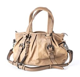 Sale 9221 - Lot 392 - A BURBERRY LEATHER SATCHEL BAG; tan leather with gun metal tone tag and hardware with adjustable handles and detachable shoulder str...
