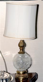 Sale 8015A - Lot 98 - A glass and brass lamp with cream shade
