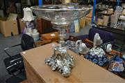 Sale 8127 - Lot 899 - Silverplate And Cut Glass Centrepiece