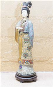 Sale 8550H - Lot 50 - A Cloissone style figurine in traditional robes, H 32cm