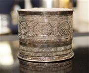 Sale 8709 - Lot 1053 - An Indian silver heavily embossed cylindrical box, Height of box 15cm, weight 883g.