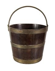 Sale 8716A - Lot 75 - A 19th Century French brass bound timber bucket - 29 x 33 cm
