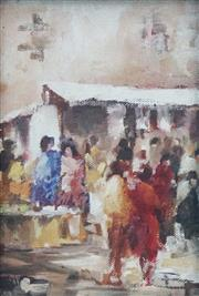 Sale 8955A - Lot 5091 - Artist Unknown (XX) - North African Market, Morocco c1950 18 x 12.5 cm (frame: 25 x 19 x 2 cm)