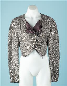 Sale 9027F - Lot 45 - A Thurley bolero jacket embellished all over in diamantes and silver sequins with zip designs, Size 12
