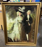 Sale 9016 - Lot 2055 - An C18th Style Painting of an Aristocratic Duo signed Butterworth, frame 103 x 79cm