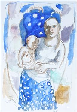 Sale 9100 - Lot 598 - Wendy Sharpe (1960 - ) - Portrait Of Mother & Child Standing 21 x 14.5 cm (frame: 31 x 24 x 4 cm)