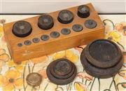 Sale 9071H - Lot 53 - Two sets of postal weights one with a timber box