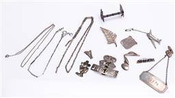 Sale 9180E - Lot 148 - A collection of silver and other wares including spirit label, cufflinks, brooches