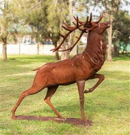 Sale 9191W - Lot 441 - A Roaring   cast iron stag. H.1700mm W. At antlers 980mm L.1600mm
