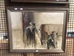 Sale 9176 - Lot 2169 - David John Old Timers in the Bar, 1981 oil on board, 42 x 57.5 cm, signed and dated lower left -