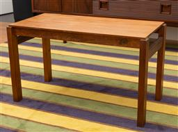 Sale 9239H - Lot 3 - A contemporary timber coffee table, H 43.5cm x W 75cm x 37cm.