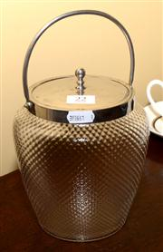 Sale 7997 - Lot 22 - AN ART DECO DIMPLED GLASS BISCUIT BARREL WITH PLATED FITTINGS