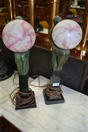 Sale 8093 - Lot 1770 - Pair of Deco Ball Lamps on Marble Plinths