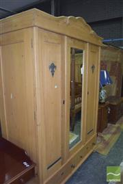 Sale 8359 - Lot 1706 - Early Baltic Pine Wardrobe With Centralised Mirror