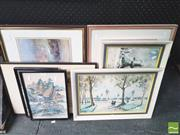Sale 8413T - Lot 2023 - Group of assorted artworks including watercolours, etchings, decorative prints and Chinese watercolours