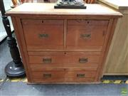 Sale 8611 - Lot 1063 - Small Kauri Pine Chest of Four Drawers (H: 81 W: 90 D: 45cm)