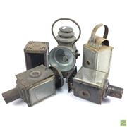 Sale 8648A - Lot 189 - Dietz Railway Lantern with 4 Others in Varying States of Repair
