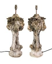 Sale 8716A - Lot 76 - A pair of cast stone three lion head table lamps recently re-wired. Ht. to copper fitting 60 cm