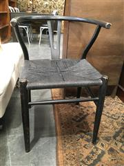 Sale 8782 - Lot 1355 - Set of 4 Black Wishbone Style Dining Chairs