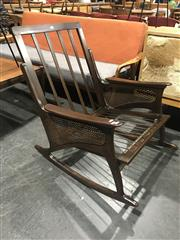Sale 8801 - Lot 1023 - Vintage Danish Teak Rocking Chair with Rattan Sides and Paddle Arms