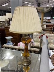 Sale 8863 - Lot 1096 - Amber Glass and Metal Finish Table Lamp