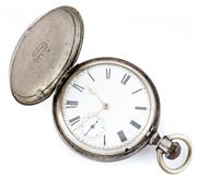 Sale 8915 - Lot 362 - A STERLING SILVER FULL HUNTER POCKET WATCH; white dial with Roman numerals, subsidiary seconds, full plate movement signed  A.M. Wat...