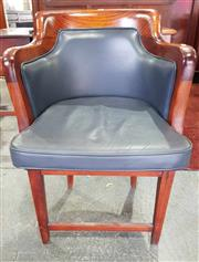 Sale 8956 - Lot 1070 - Early 20th Century Blackwood Tub Chair, upholstered in dark blue / black leather, with loose cushion (H:87 x W:59 x D:64cm)