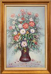 Sale 9036 - Lot 2071 - A.R  Spring Bouquet oil on canvas 104 x 72cm (frame) initialled lower right
