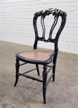 Sale 9137 - Lot 1090 - Painted bedroom chair with rattan seat and mother of pearl inlay (h:85 x w:38 x d:36cxm)