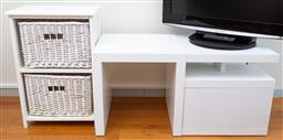 Sale 9162H - Lot 75 - Two white TV stands Height 51cm x Width 51cm x Depth 51cm (some discolouration) togther with a bedside