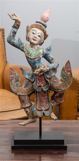 Sale 9160H - Lot 124 - An antique Burmese dancing doll in muted polychrome timber, mounted on stand, total Height 77cm