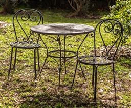 Sale 9191W - Lot 442 - A  French style bistro setting Table.H750mm Diam.850mm Chairs H.900mm x2