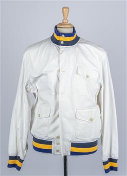 Sale 9095F - Lot 87 - A Ralph Lauren mens white casual sports jacket with blue and yellow striped cuffs and collar, size XL.