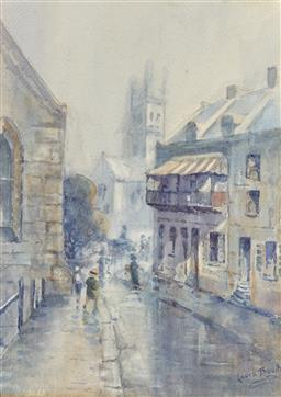 Sale 9216A - Lot 5070 - LAURA BOOTH (1855 - 1979) Rainy Day, St Philips Church, Sydney, 1920s watercolour 34.5 x 24.5 cm (frame: 58 x 48 x 3 cm) signed lowe...