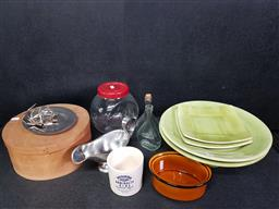 Sale 9254 - Lot 2321 - Kitchenwares incl Anodised Aluminium Jelly Mould, Portugese Cake Stand & Dishes, Chefs Hat etc