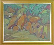 Sale 8068A - Lot 17 - Nancy Borlase (1914 - 2006) - Rocks, Reid Park Mosman 1989 49.5 x 61cm